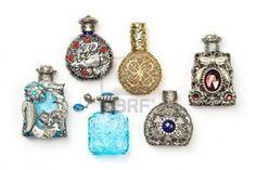 Six antique perfume glass richly ornate bottles