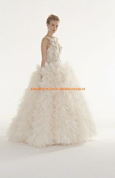 Luxuriöse Brautkleider für Prinzessin 2014 aus Organza mit Perlenstickerei