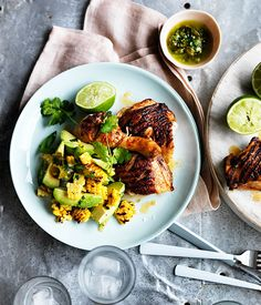 Australian Gourmet Traveller recipe for barbecued spiced chicken with corn, avocado and lime.