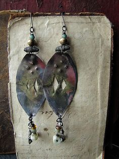 magick  torched metalwork earrings by nusquam on Etsy, $48.00
