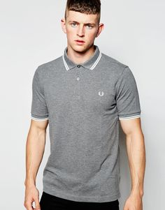 d93ec55d Fred Perry Polo Shirt with Twin Tip in Slim Fit Graphite Marl