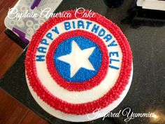 Captain America cake!. I only like the way they put H B on the cake with the name. #3 could go on the star..
