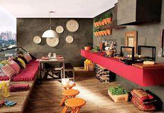 cocina exterior en la terraza con un estilo chillout