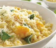 Risotto  Used crab meat, pumpkin & some frozen spinach (stirred cooked crab & spinach thro at end)  For Matty