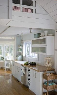 Small Cottage Kitchen and Interior | Tiny House Pins I realy like the loft above the kitchen-very cozy! by Gindreamer #tinyhouseinteriorcottages