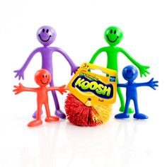 A colourful family of bendy smile people and a koosh ball make up this fiddle kit
