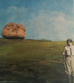 """""""between a rock and a harder place."""" original collage artist trading card by Kathleen Sawyer."""