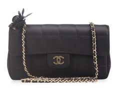Chanel Black Satin Chocolate Bar Camellia Mini Flap Bag