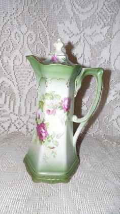 ANTIQUE BUFFALO POTTERY CHOCOLATE POT PITCHER FLORAL ROSES DESIGN