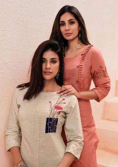 Wonderful Cost-Free Embroidery Designs for kurtis Ideas Vink Marigold Designer Linen Cotton with Handwork Readymade Kurtis with Palazzo at Wholesale Rate Kurti Sleeves Design, Kurta Neck Design, Sleeves Designs For Dresses, Dress Neck Designs, Blouse Designs, Plain Kurti Designs, Kurta Designs Women, Latest Kurti Designs, Palazzo