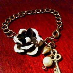 <3 Gingers Jewelry Box...Brass enamel rose