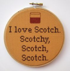 I Love Scotch  Anchorman Cross Stitch Funny Quote by BananyaStand