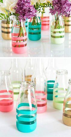 Pintar-botellas-rayas-DIY-stripes-bottle