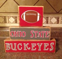 Ohio State Buckeyes Football  Wood Block Decor by BreezyBarn, $18.95