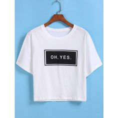 Letters Print Crop White T-shirt ($8.90) ❤ liked on Polyvore