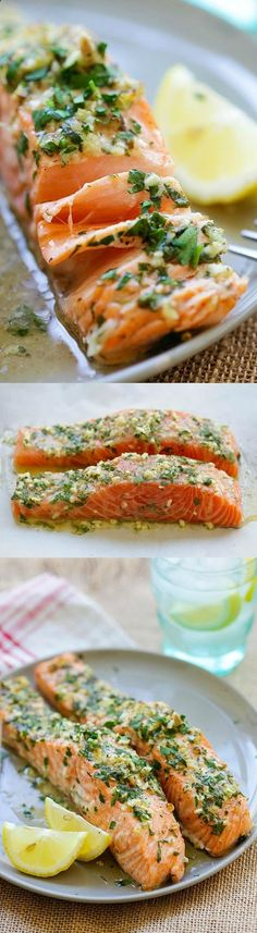 Garlic Herb Roasted Salmon – best roasted salmon recipe ever! Made with butter garlic herb lemon and dinner is ready in 20 mins
