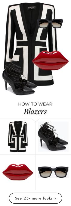 """""""Untitled #9923"""" by alexsrogers on Polyvore featuring Balmain, Zara, Lulu Guinness and Yves Saint Laurent"""