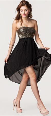 Black dress with sparkly top part