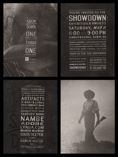 Identity, save the date cards, invitation and website for the AIGA 2010 Showdown Awards show. Concept inspired by 19th century daguerrotype images, mysticism and old-fashioned cowboy justice.