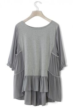 Cozy My Fav Grey Dolly Hi-Lo Top - Short Sleeve - Tops - Retro, Indie and Unique Fashion Vintage Tops, Marchesa, Elie Saab, Unique Fashion, Passion For Fashion, Fashion Brand, Spring Summer Fashion, Dress To Impress, Lilly Pulitzer