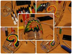 Rainbow swirls mug decoration ideas, watermarble glass mug, glass colours, fun and creative gift