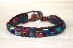 Boho Leather Bracelet, Shabby Chic, Fabric Textile Beads. $68.00, via Etsy.