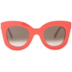 Céline Marta Coral Cat-eye Sunglasses ($340) ❤ liked on Polyvore featuring accessories, eyewear, sunglasses, glasses, coral, celine eyewear, uv protection sunglasses, grey sunglasses, cateye sunglasses and celine sunnies