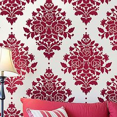 Rose Damask Wall Stencil - Reusable Stencils for Walls - Better Than Wallpaper - DIY Decor by CuttingEdgeStencils on Etsy https://www.etsy.com/listing/65962875/rose-damask-wall-stencil-reusable