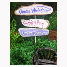 fairy garden signs, signpost with 3 signs, minature garden signs, gnome workshop, fairy ring, unicorn crossing