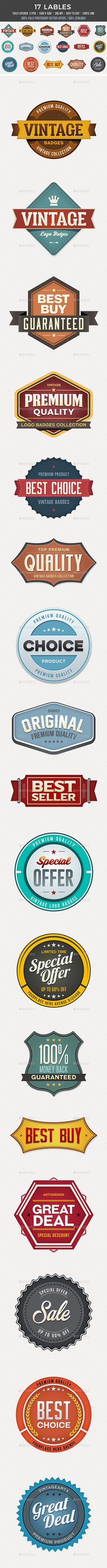 17 Badges 17 Vintage Badges / Anniversary / Logo Set  17 Fully Layered .PSDs  and 17 JPEG  1500×1500 pixels 300 dpi  100% Photoshop Vector layers  100% Resizable  Easy to Edit  Fonts link attached with main file  Please rate it!  BigNoodleTitling http://www.dafont.com/search.php?q=BigNoodleTitling Familiar Pro http://www.dafont.com/search.php?q=Familiar+Pro Bebas Neue http://www.dafont.com/search.php?q=Bebas+Neue Gobold http://www.dafont.com/search.php?q=Gobold Vacer Serif…