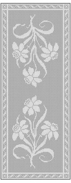Daffodil Filet Crochet Chart Free Pattern for Table Runner