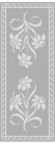 Daffodil Filet Crochet Chart Free Pattern for Table Runner                                                                                                                                                                                 More