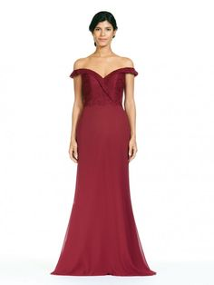 953c00705a Size 10 Wine Bari Jay 1807 Lace Off Shoulder Long Bridesmaid Dress. Vestidos  ...
