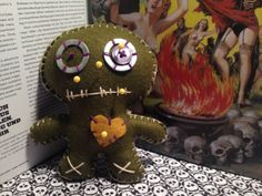 Olive Green VooDoo Doll Pincushion by thesalvageemporium on Etsy, $8.00