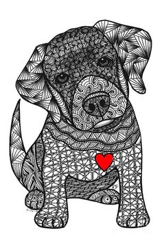 Man's Best Friend - Labrador Retriever Art Print by Dianne Ferrer. All prints are professionally printed, packaged, and shipped within 3 - 4 business days. Choose from multiple sizes and hundreds of frame and mat options. Doodle Art Name, Doodle Art Letters, Doodle Art Drawing, Doodle Art Journals, Zentangle Drawings, Zentangle Patterns, Doodles Zentangles, Dibujos Zentangle Art, Pattern Art