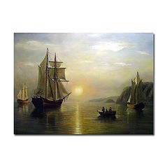 A Sunset Calm in the Bay of Fundy Oil Painting by Bradford William Free Shipping