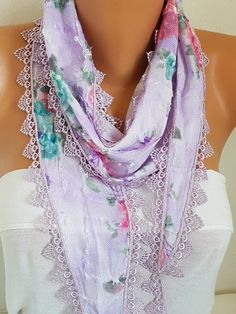 Lilac Floral Scarf Summer Scarf  Cotton Scarf Cowl Scarf Gift For Her Fashion Accessories best selling item