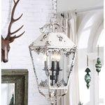 Cream metal electric lantern