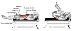 Lying leg and hip raise. A compound pull exercise. Main muscles worked: Rectus Abdominis, Iliopsoas, Tensor Fasciae Latae, Pectineus, Sartorius, Adductor Longus, Adductor Brevis, and Obliques. Also known as the lying knee and hip raise.