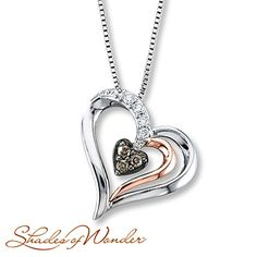 $279.00 WOW is all I have to say this is amazingly beautiful.  Future man of mine take note!  Diamond Heart Necklace 1/8 ct tw Sterling Silver/10K Gold
