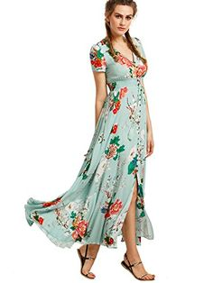 Milumia Womens Button Up Split Floral Print Flowy Party Maxi Dress Light Green S