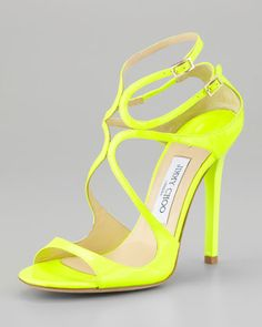 Jimmy Choo Lang Patent Strappy Sandal, Yellow - Neiman Marcus