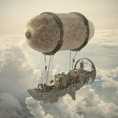Inspired by the art of Ian Mcque, Michal Kus and Daniel Agdag Steampunk Ship, Arte Steampunk, Steampunk Fashion, 3d Street Art, Zeppelin, Cyberpunk, Steampunk Machines, Science Fiction Art, Fantasy Inspiration