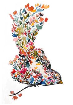 Mohala blossom bird painting watercolor illustration bohemian folk nature botanical floral original
