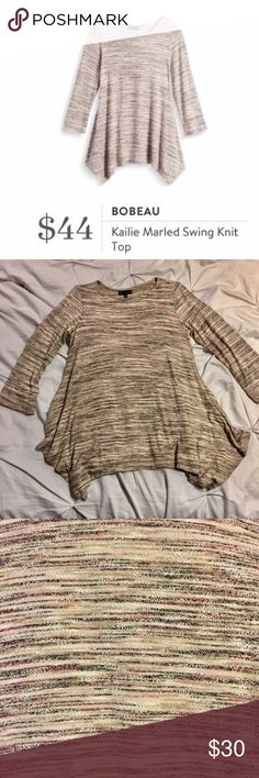 NWOT Stitch Fix 3/4 Sleeve Multi-colored Top Sz M NWOT from stitch fix! So soft and slouchy! Size M loose fitting handkerchief bottom 3/4 Sleeve sweater. Multi-colored, overall hue is light pink (color is best shown in stock photo). Stitch Fix Tops