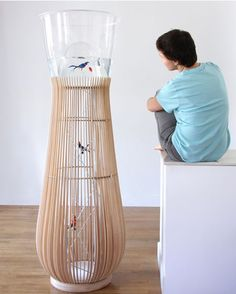 sweet bird cage and fish bowl. the bird can go up into the top even with the fish!