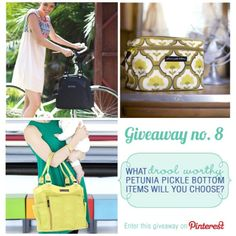 Win the Petunia Pickle Bottom Diaper Bag of Your Dreams.  Repin this post and then pin your favorite 3 bags from www.babycubby.com - pinterest.com/thebabycubby