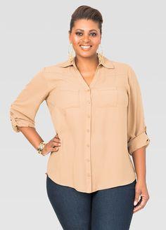 b3b059438a83e Two Pocket Crepe Blouse-Plus Size Shirts-Ashley
