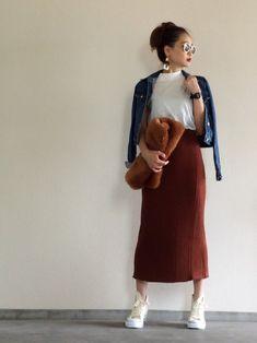 リブスカート×Gジャン×コンバース キャメルのファークラッチ 秋カラー❤️ リブスカートはウール混な