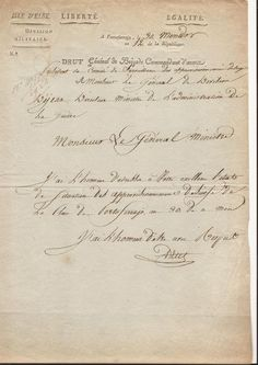 """Lettre autographe Général DRUT commandant d'armée de Napoléon ,entete """"Isle d""""Elbe"""" datée de Portoferrajo 19 juillet 1804"""